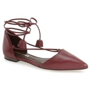Coach Burgandy Johnson shine calf leather flats